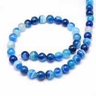 15 Inch Gemstone Blue Agate 6mm Round Beads